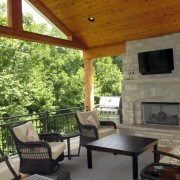 Outdoor room with fireplace