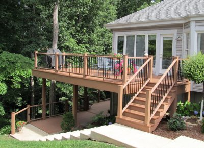 Outdoor porch and deck with ambiance lighting - another residential building project by Heartlands Home Building Company, Chesterfield, Missouri