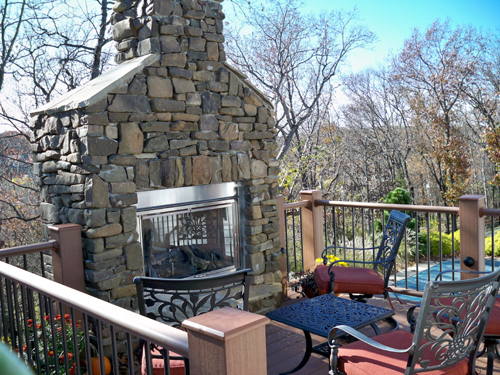 fireplace that gives this deck a cozy feel