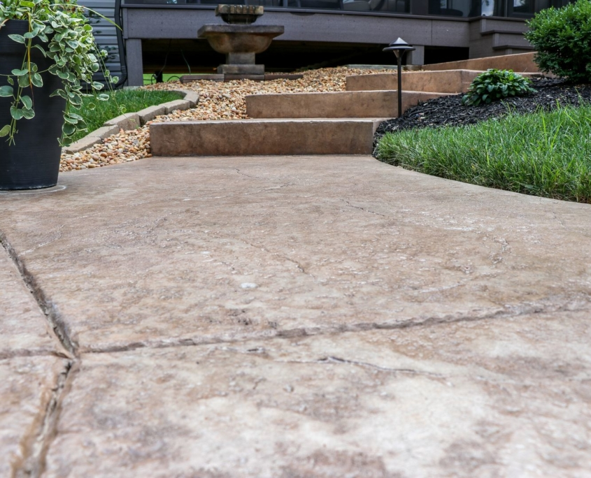 custom stamped concrete and stairs
