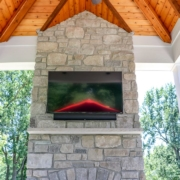custom fireplace and ceiling features