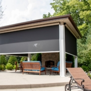 outdoor room with solar retractable screen room system