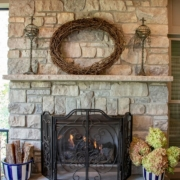 fireplace feature in an outdoor room