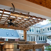 Outdoor grill with pergola