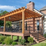 pergola located on a deck addition