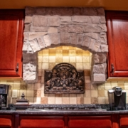 Harvest snap stone added into an existing kitchen to tie stone features throughout the whole house