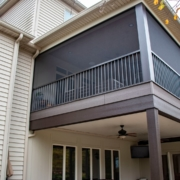 A custom screen room system with a usable under deck system