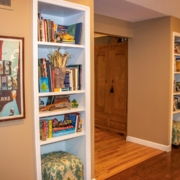 Built in bookshelves added into an existing homes main floor living room