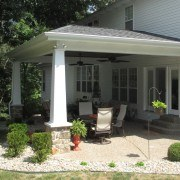 Outdoor room with tapered columns