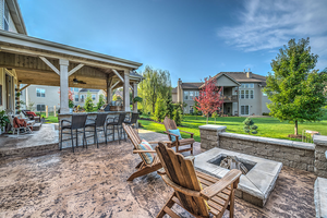 Decorative concrete installed by Heartlands Builders for your custom outdoor living space