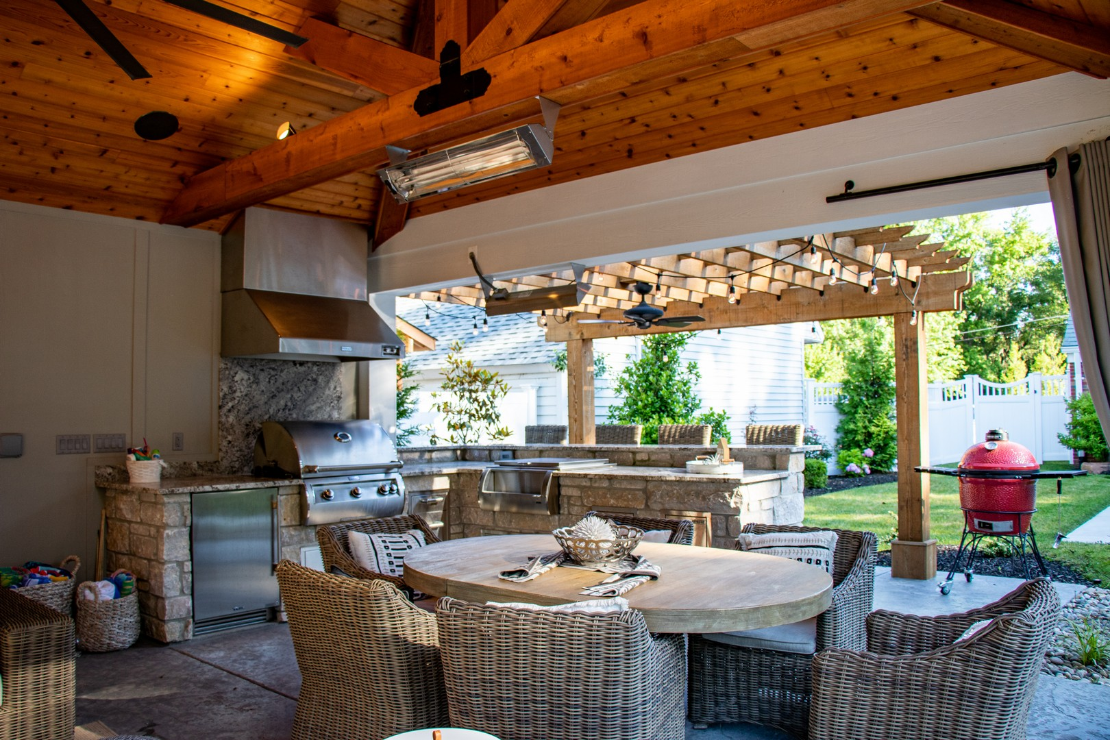 disconnect with technology in an outdoor room with a kitchen