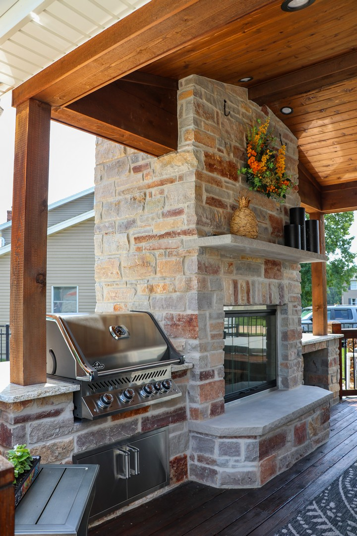 outdoor room fireplace and grill to disconnect with technology in