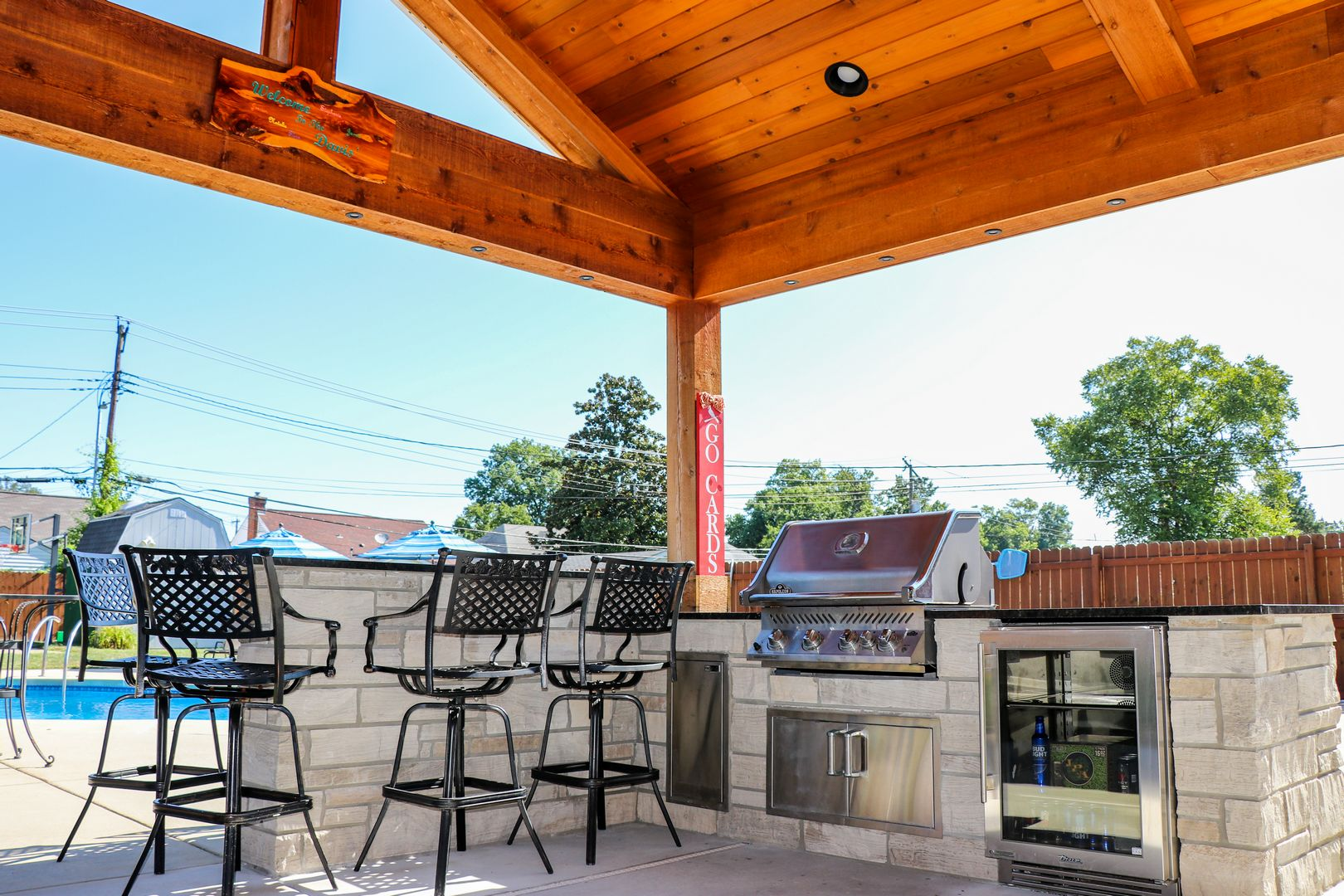 outdoor grilling and beverage center perfect for watching the Cardinals Fall Classic