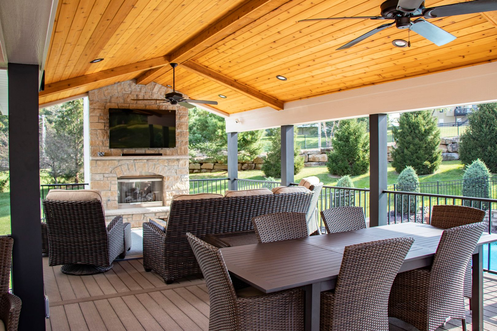 adding outdoor dining spaces next to a fireplace can help increase comfort during cooler seasons