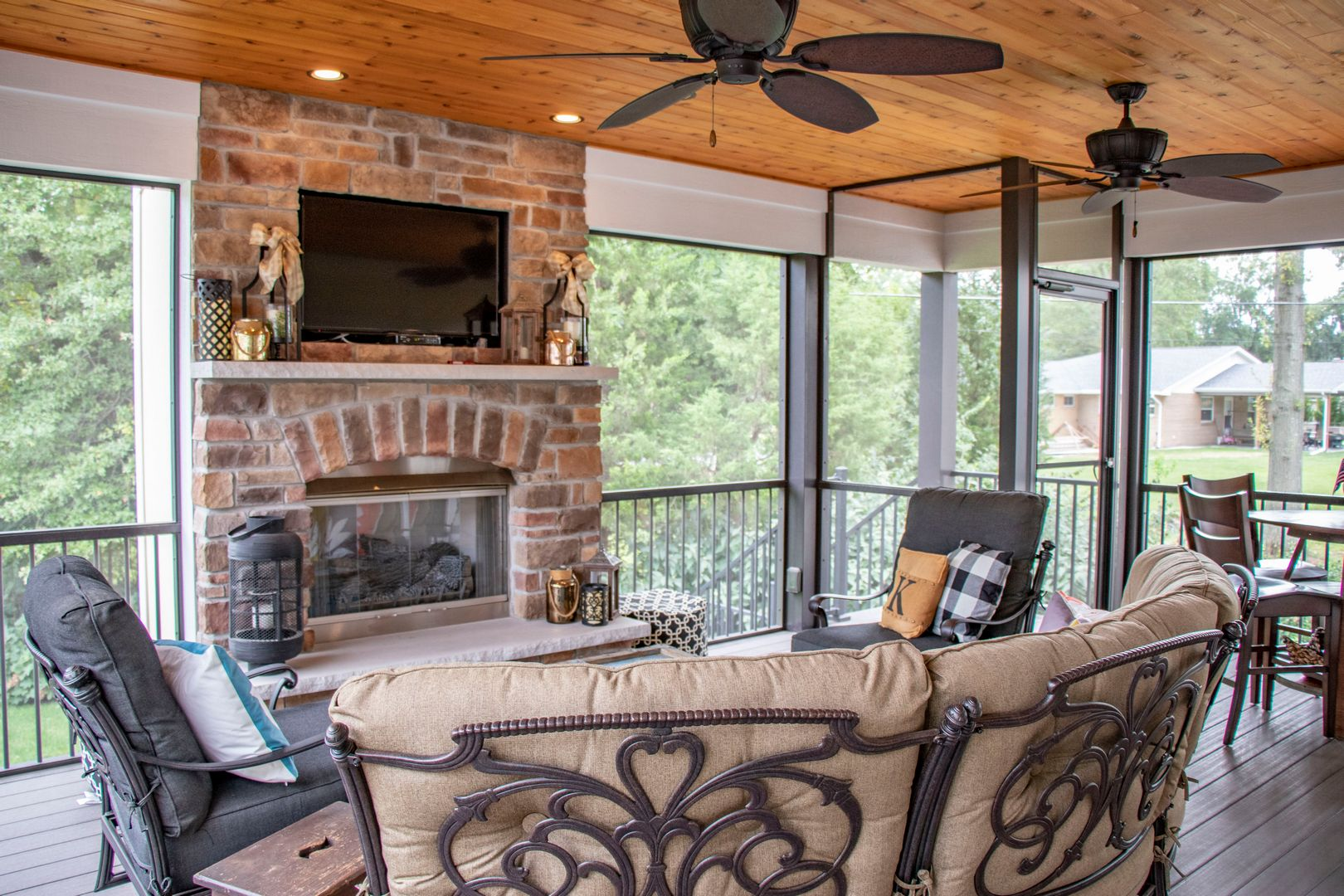 snuggle up next to loved ones next to this fireplace
