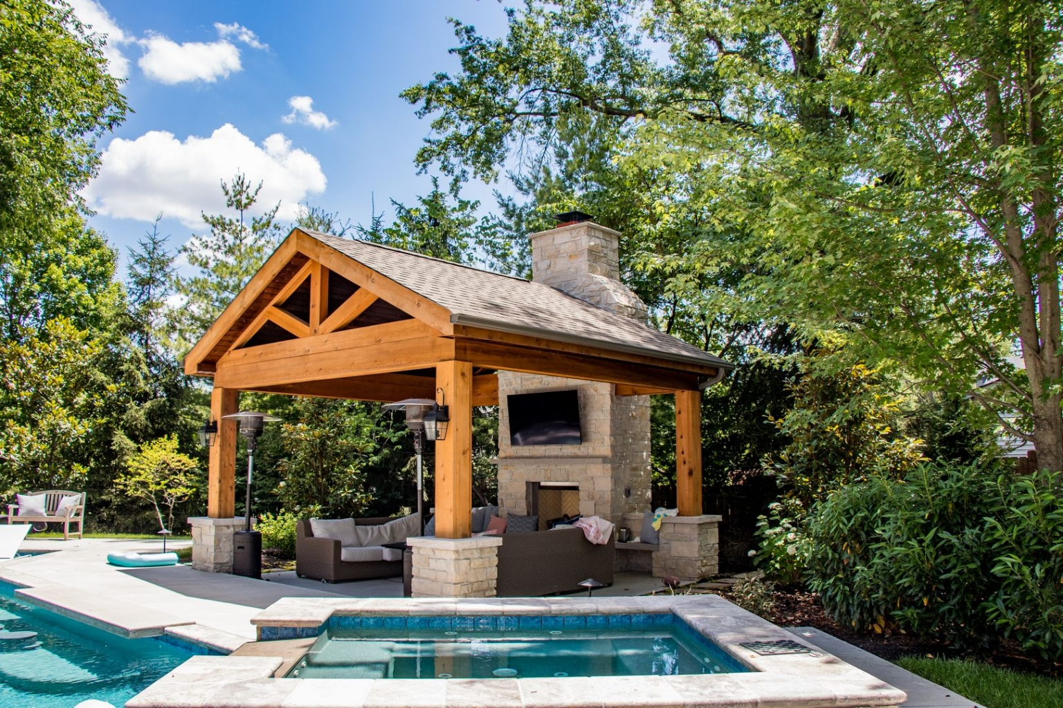 beautiful outdoor room with fireplace
