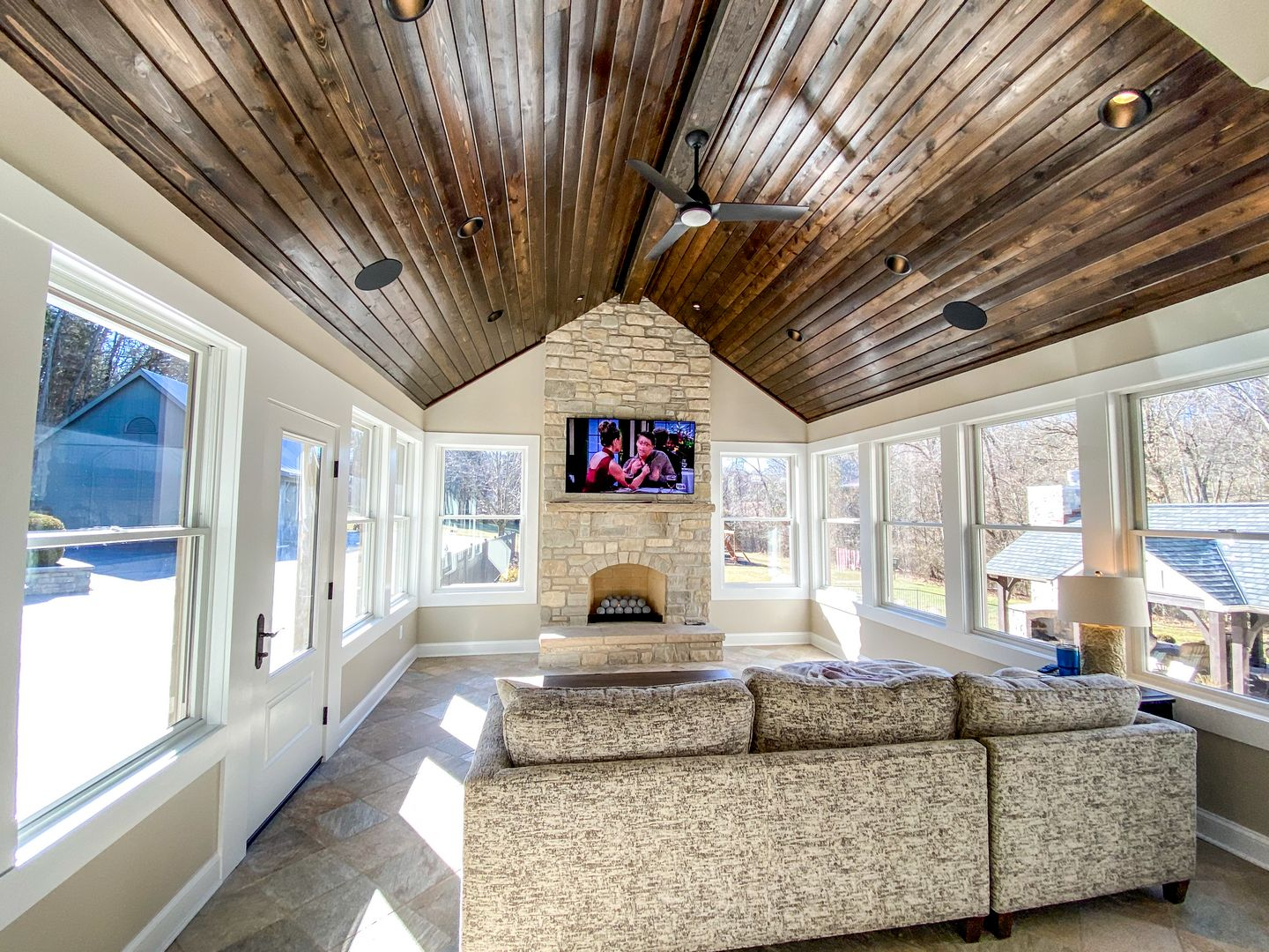Custom stained ceiling to match shutters