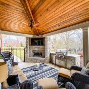 corner fireplace in outdoor room
