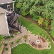 beautiful firepit area - drone view