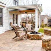 Custom firepit on a paver patio